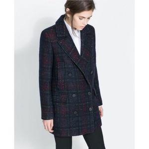 ZARA wool blend plaid tartan tweed peacoat blazer